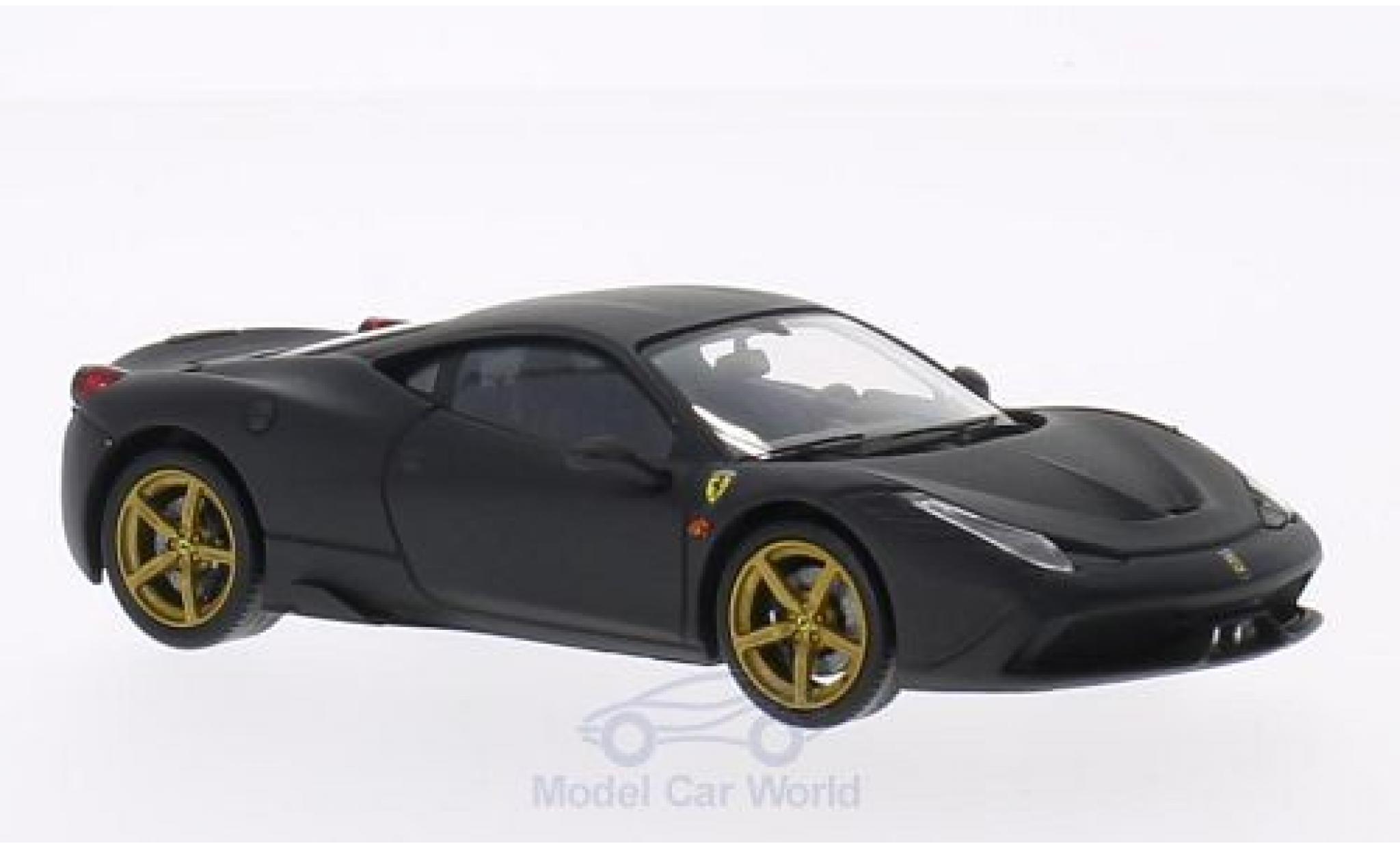 Ferrari 458 1/43 Mattel Elite Speciale matt-noire 2013 ohne Vitrine