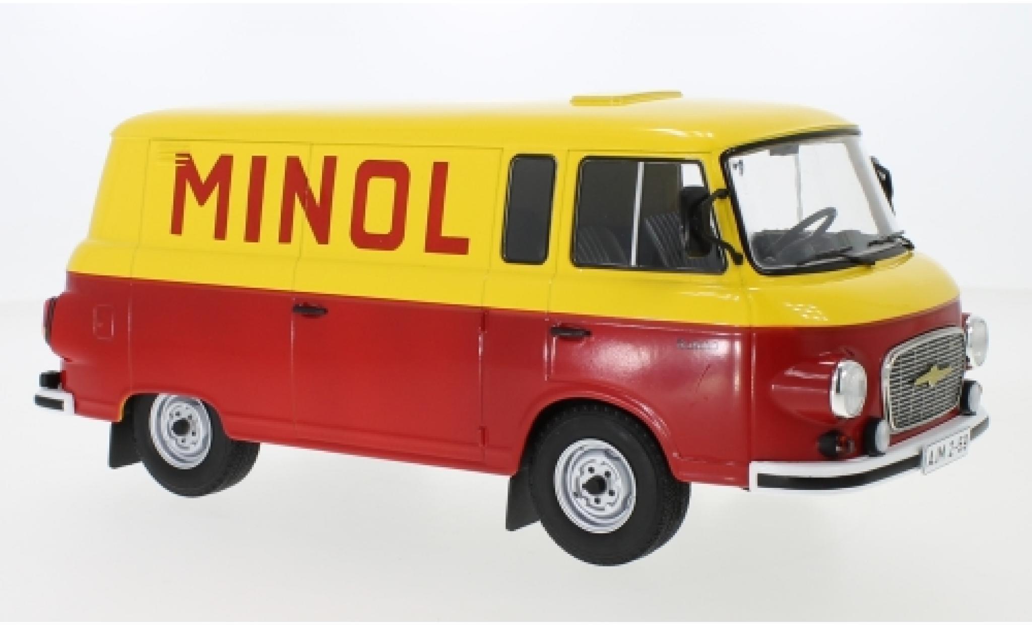 Barkas B 1000 1/18 MCG Kastenwagen jaune/rouge Minol 1970