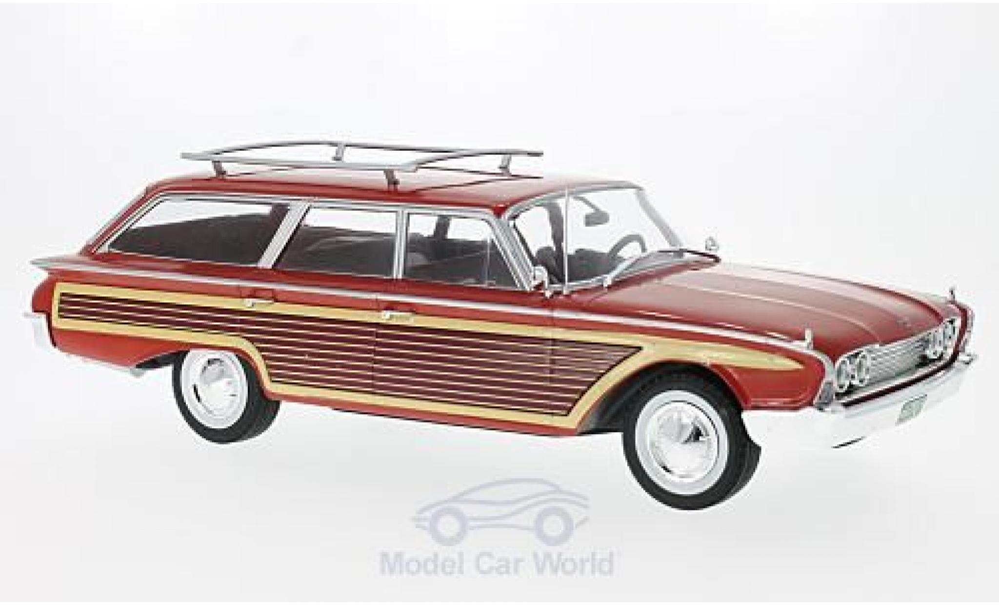 Ford Country Squire 1/18 MCG rouge/Holzoptik 1960 mit Dachreling