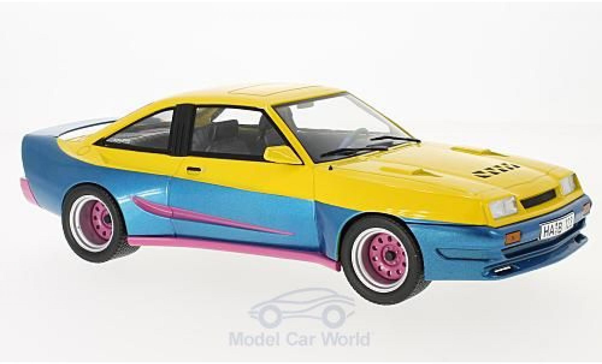 Opel Manta B 1/18 MCG Mattig jaune/bleue 1991