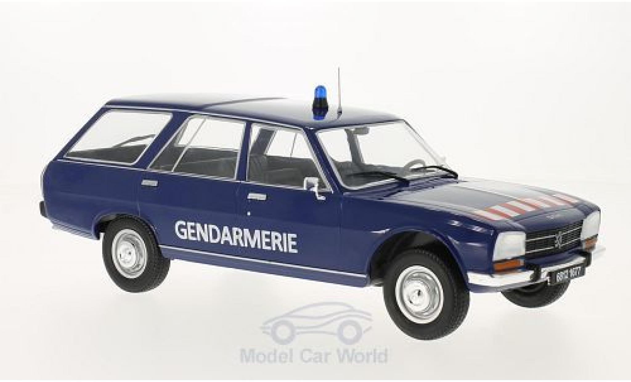 Peugeot 504 Break 1/18 MCG Break bleue Gendarmerie 1976 Türen und Hauben geschlossen
