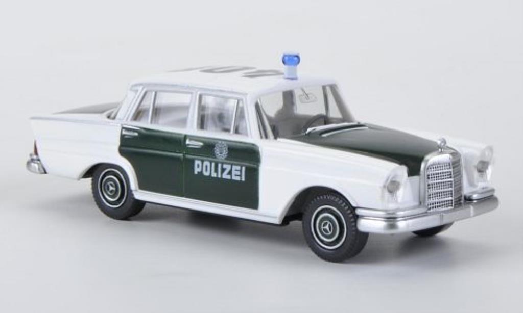 Mercedes 220 S 1/87 Wiking Polizei blanche/verte miniature
