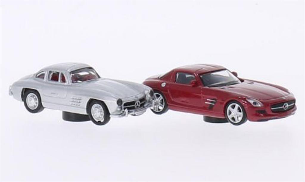 Mercedes 300 SL 1/87 Schuco grise + SLS AMG rouge miniature