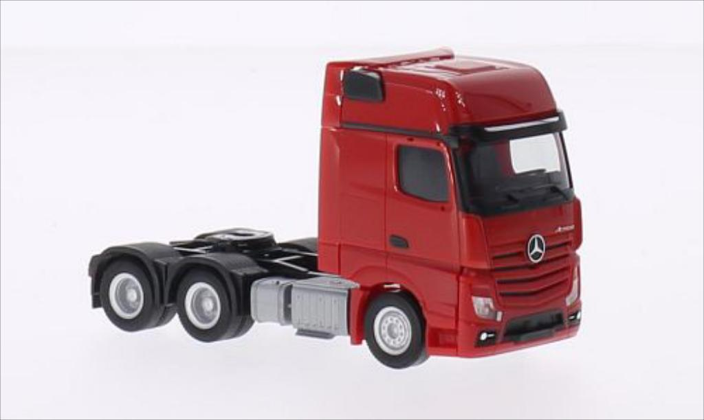 Mercedes Actros 1/87 Herpa Gigaspace 6x4 rouge miniature