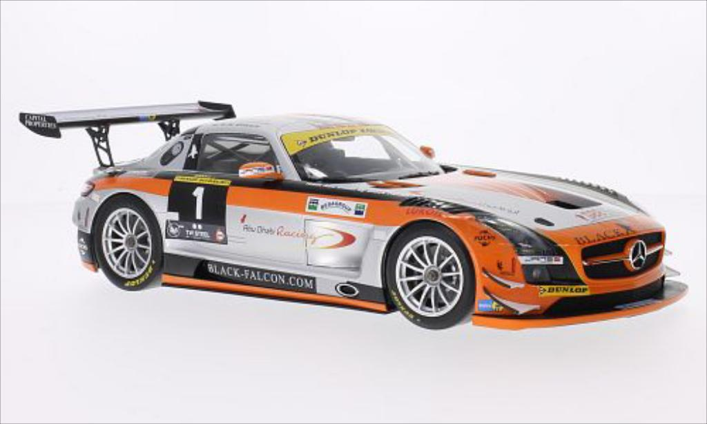 Mercedes SLS 1/18 Minichamps AMG GT3 No.1 Black Falcon 24h Dubai 2013 miniature