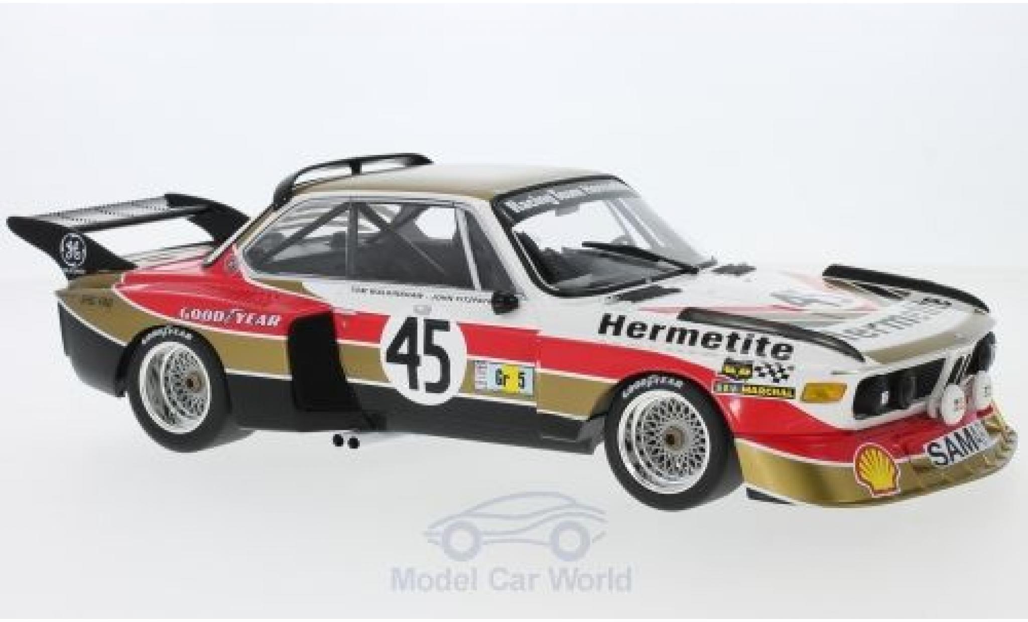Bmw 3.5 1/18 Minichamps BMW CSL No.45 Hermetite Productions Ltd. 24h Le Mans 1976 J.Fitzpatrick/T.Walkinshaw
