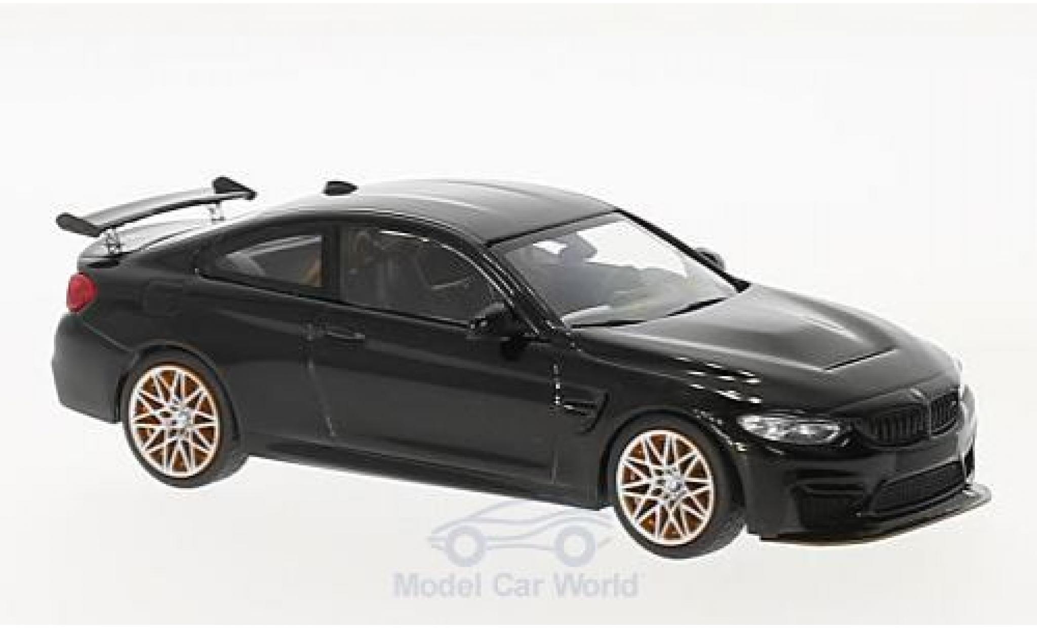 Bmw M4 1/43 Minichamps BMW (F82) GTS metallic-noire 2016 mit orangen Felgen