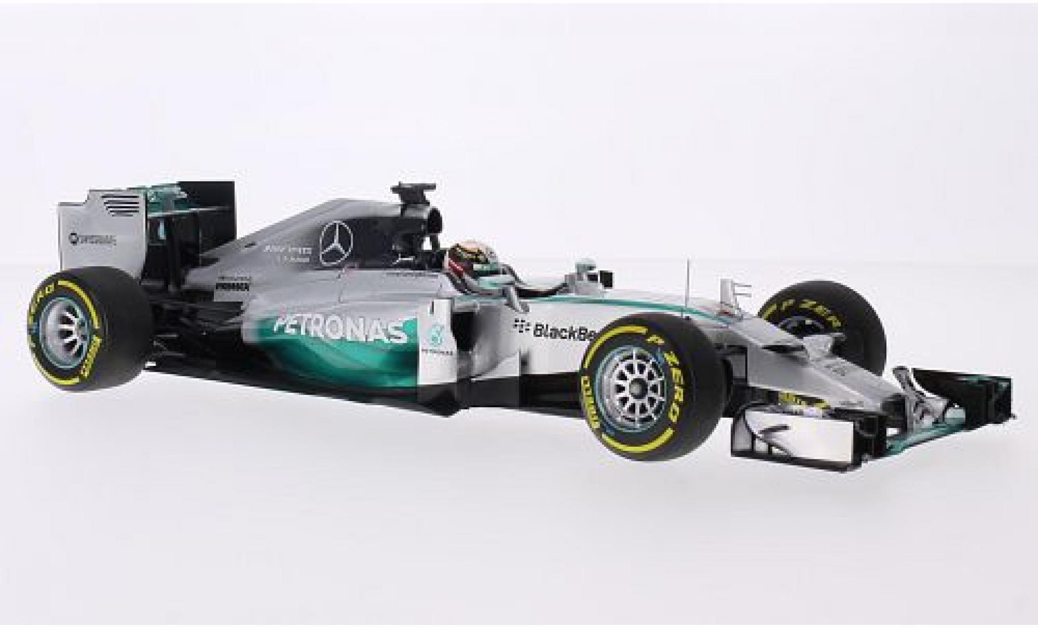 Mercedes F1 1/18 Minichamps W05 Hybrid No.44 AMG Petronas Team Petronas Formel 1 GP Abu Dhabi 2014 avec figurine de conducteur L.Hamilton