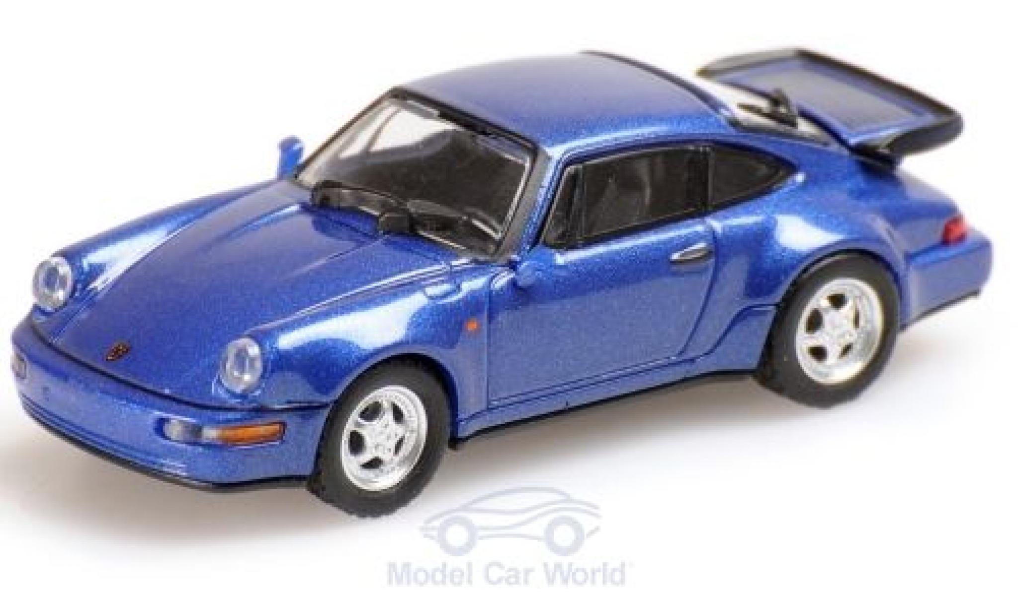 Porsche 964 Turbo 1/87 Minichamps 911  metallise bleue 1990