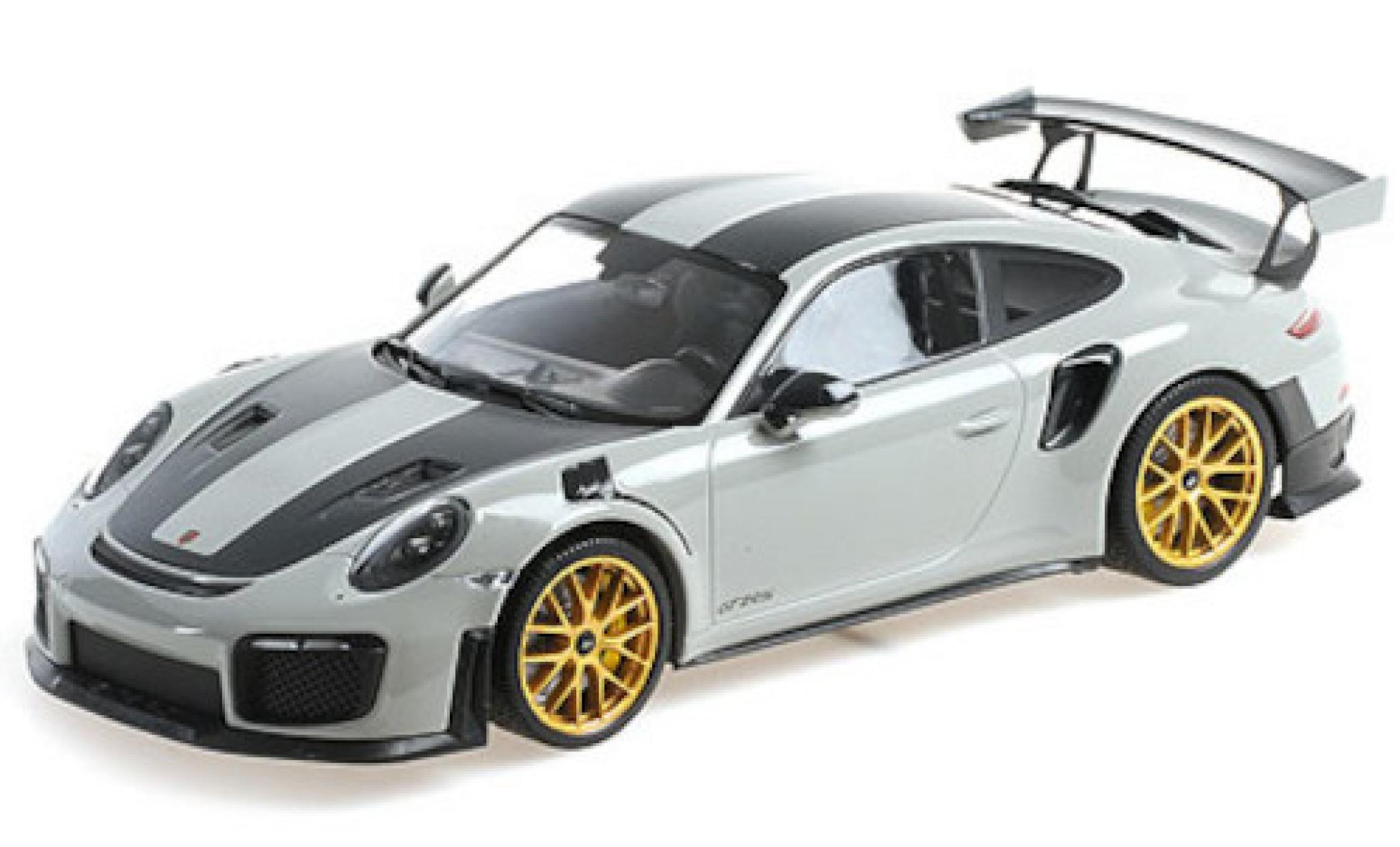 Porsche 991 GT2 RS 1/18 Minichamps 911 (.2) grise/carbon 2018 mit Weissach Paket und goldenen Magnesium Felgen