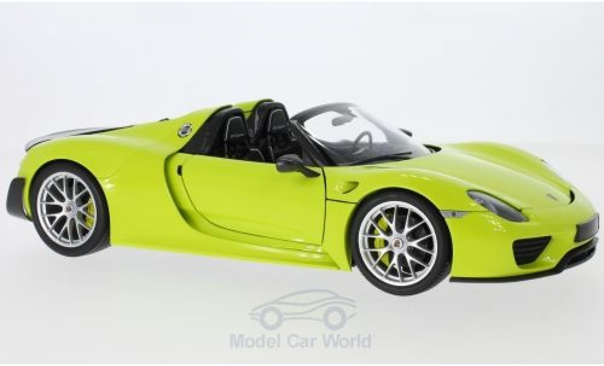 Porsche 918 1/18 Minichamps Spyder hellgrün/carbon 2015 Weissach Package
