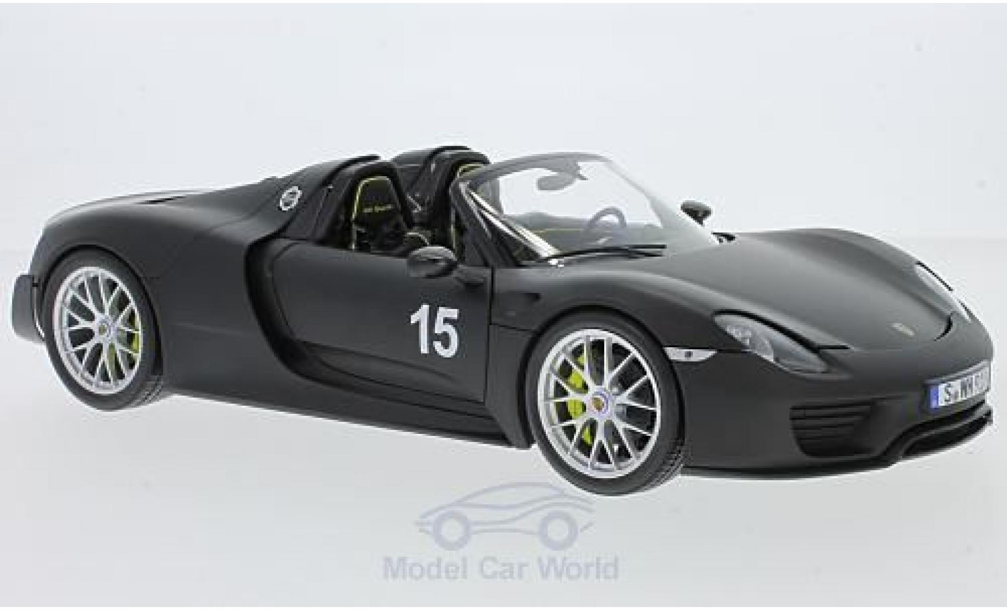 Porsche 918 1/18 Minichamps Spyder matt-noire 2015 Weissach-Package