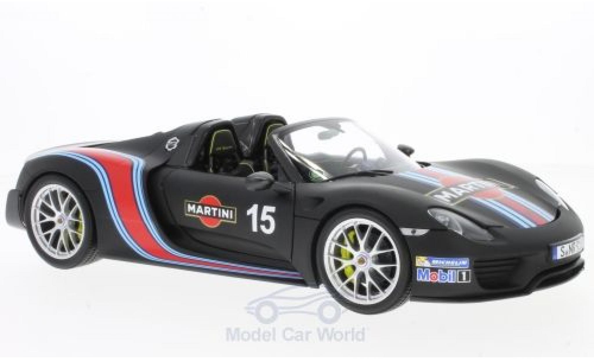 Porsche 918 2013 1/18 Minichamps Spyder matt-noire Martini 2013 Weissach-Package