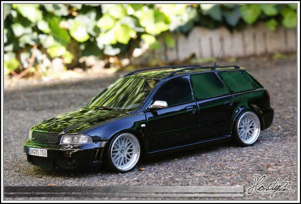 Audi RS4 1/18 Ottomobile B5 Black Edition By MRC tuning diecast model cars
