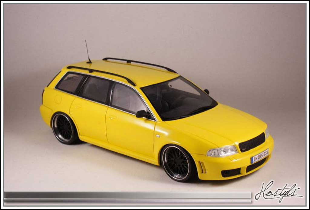 Audi RS4 1/18 Ottomobile B5 Black and Yellow tuning miniature