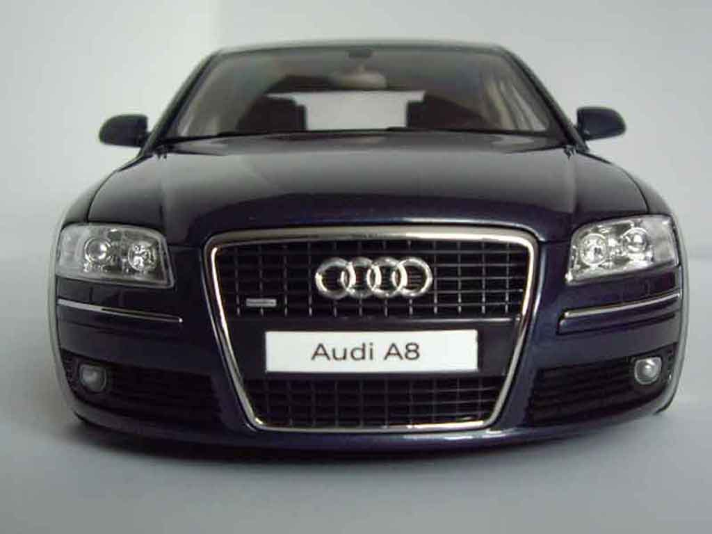 Audi A8 4.2 TDI 1/18 Norev bleu fonce jantes bords larges tuning miniature