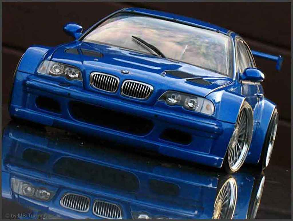 Bmw M3 E46 1/18 Minichamps GTR blue jantes 20 pouces tuning diecast model cars