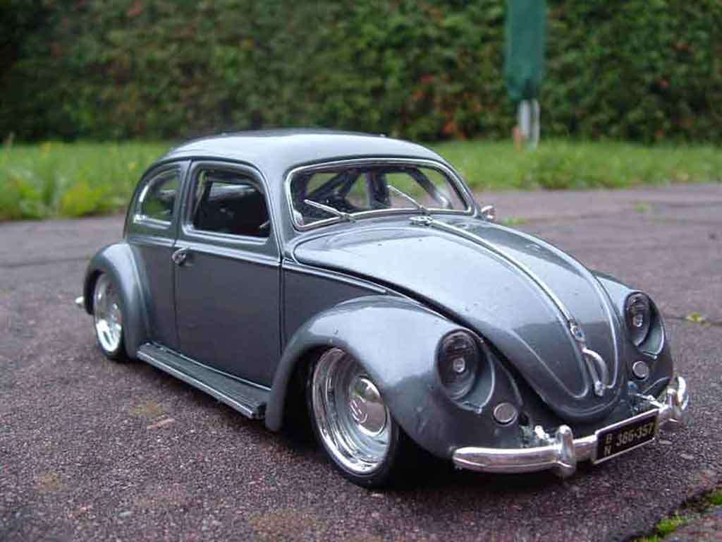 Volkswagen Kafer 1/18 Burago coxinelle grey jantes toles tuning diecast model cars