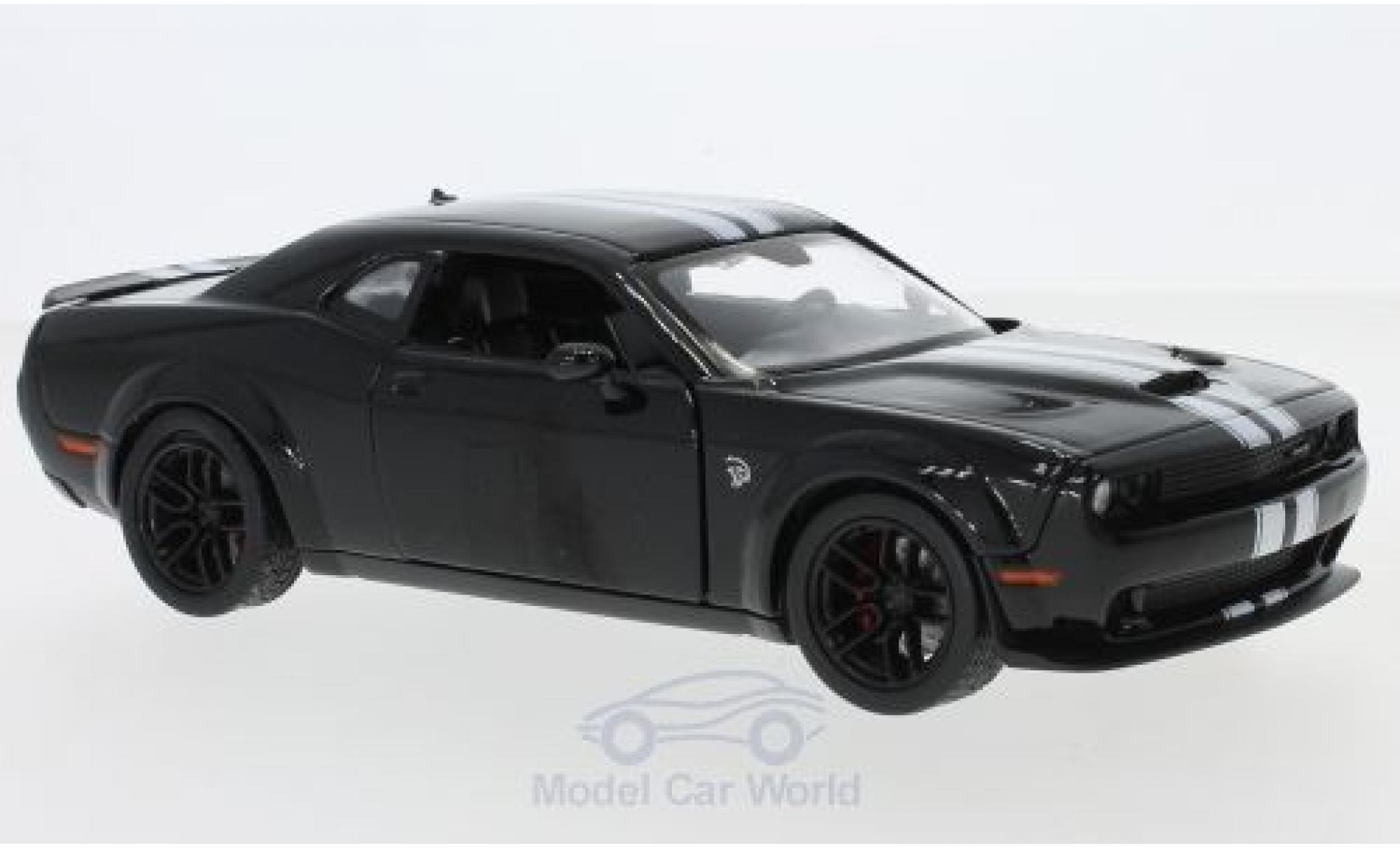 Dodge Challenger 1/24 Motormax SRT Hellcat black/white 2018