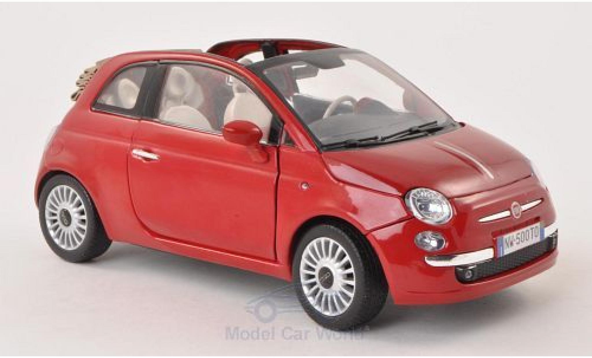 Fiat 500 1/18 Motormax Cabrio red