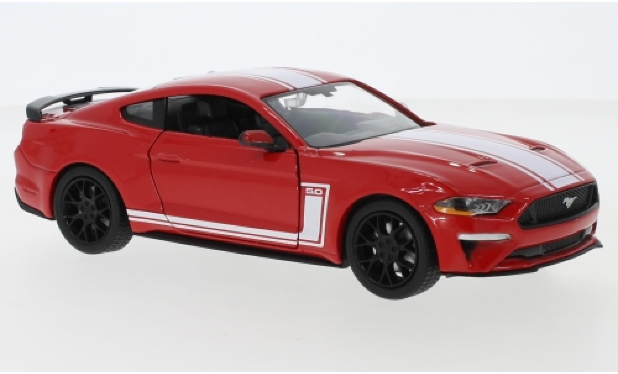 Ford Mustang 1/24 Motormax GT rouge/blanche 2018