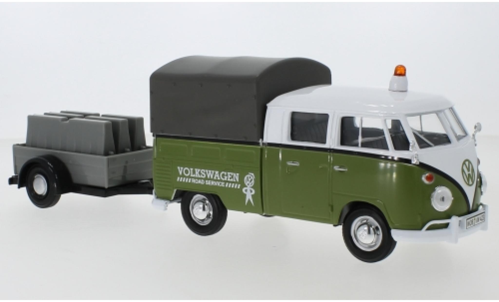 Volkswagen T1 1/24 Motormax Doppelkabine verte/blanche Road Service mit Anhänger