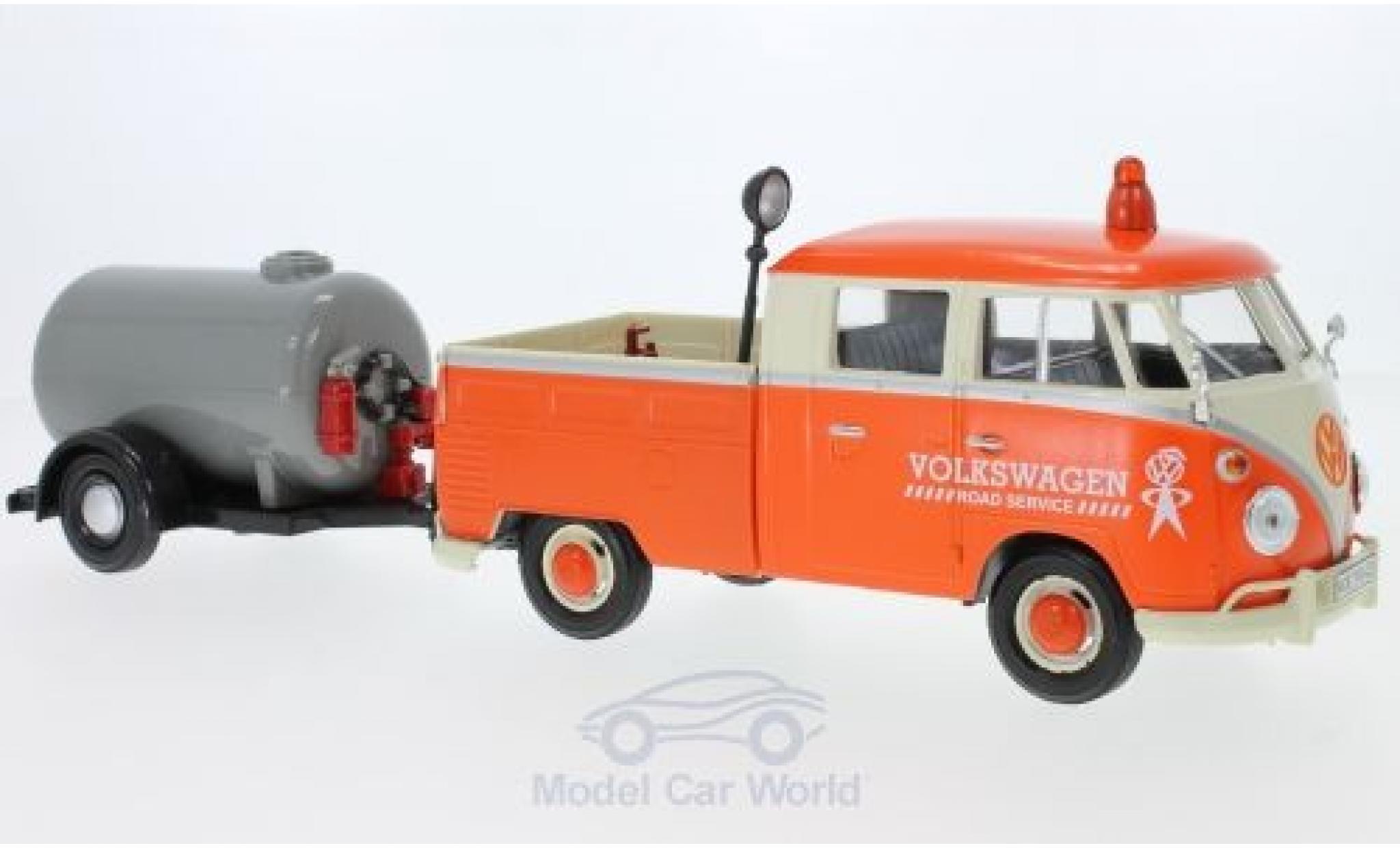 Volkswagen T1 B 1/24 Motormax Doppelkabine orange/beige mit Tankanhänger