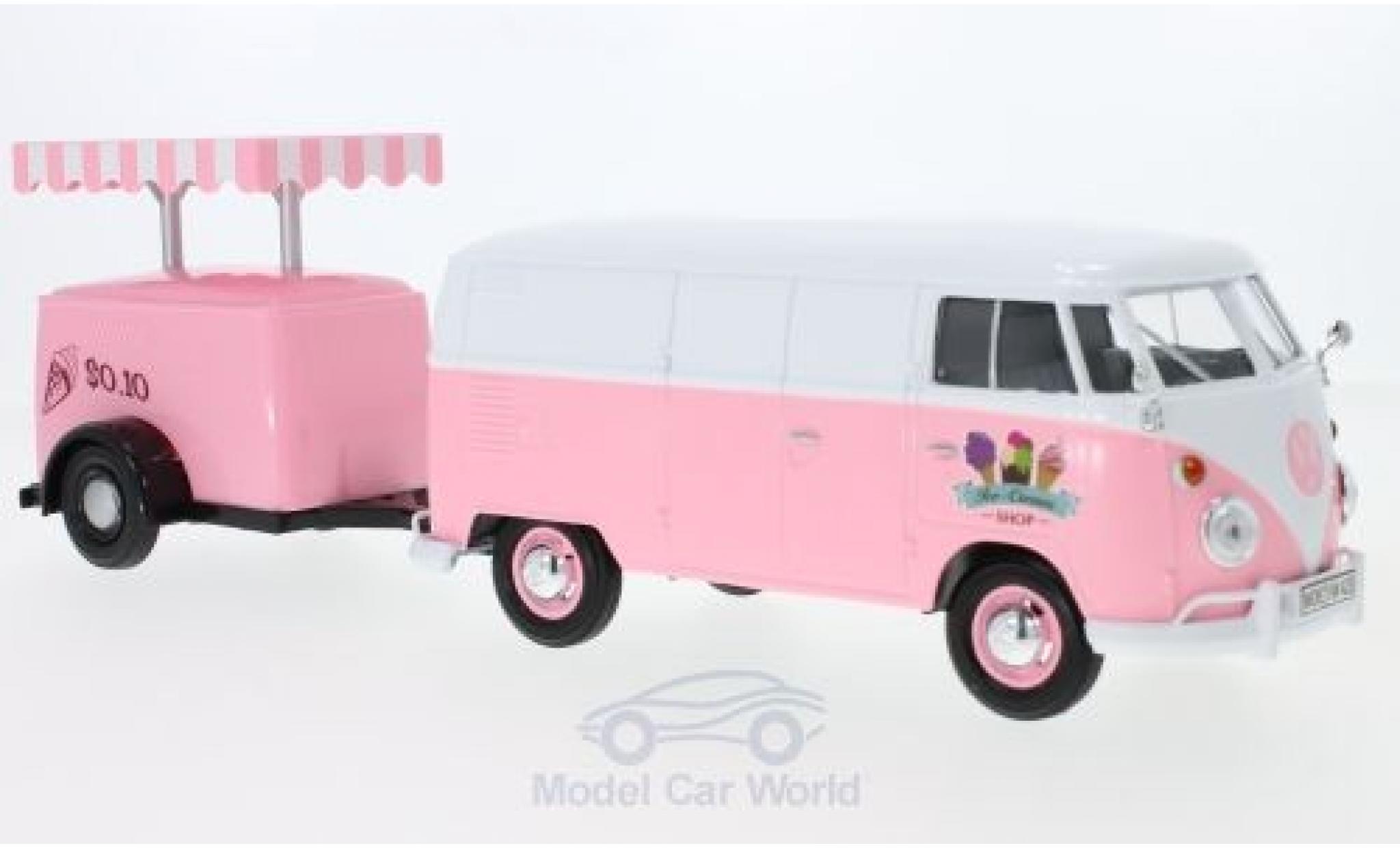 Volkswagen T1 A 1/24 Motormax Kastenwagen rosa/weiss Kastenwagen mit Kühlanhänger