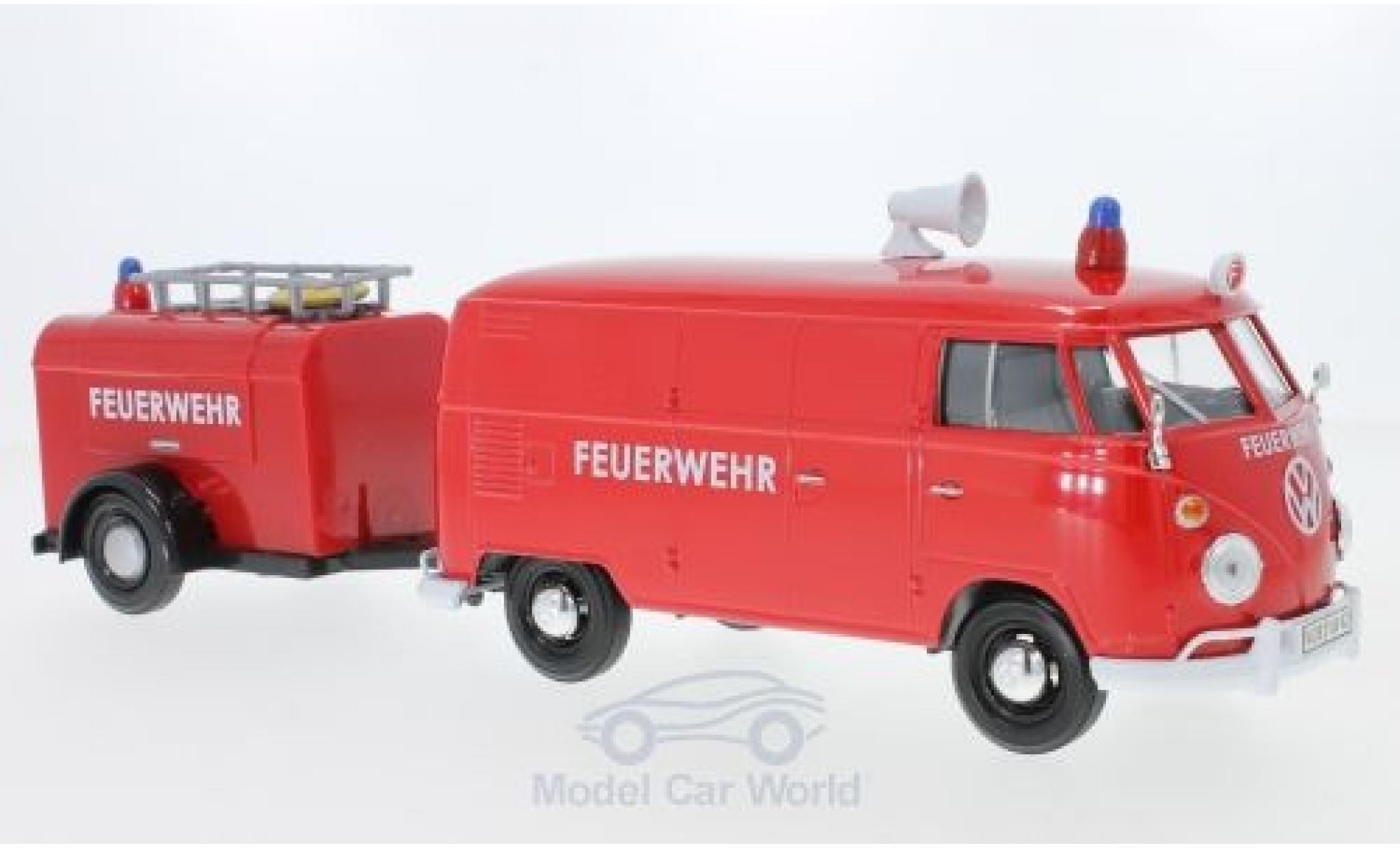 Volkswagen T1 A 1/24 Motormax Kastenwagen rouge Feuerwehr mit nhänger