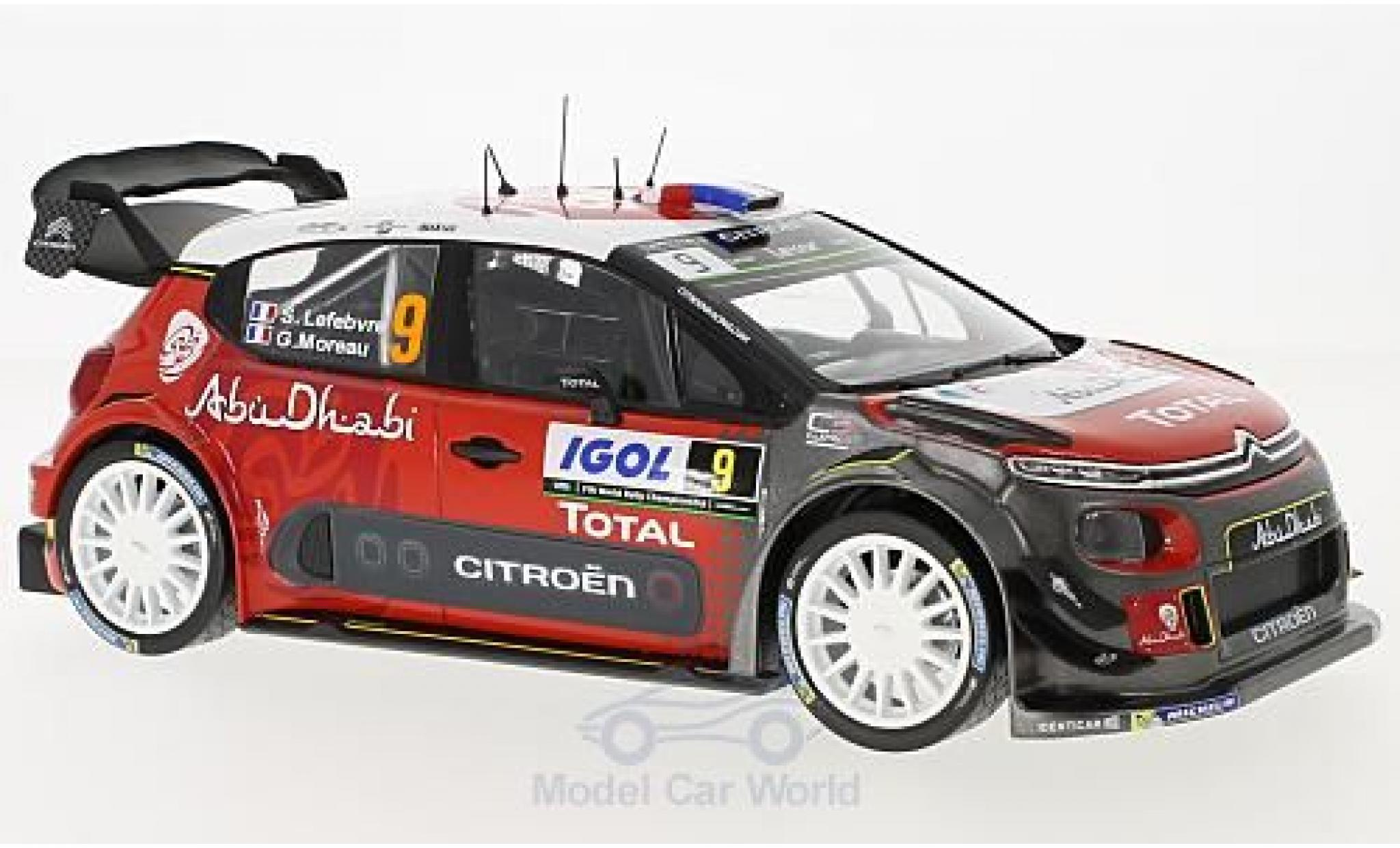 Citroen C3 1/18 Norev WRC No.9 Rallye WM Tour de Corse 2017 S.Lefebvre/G.Moreau