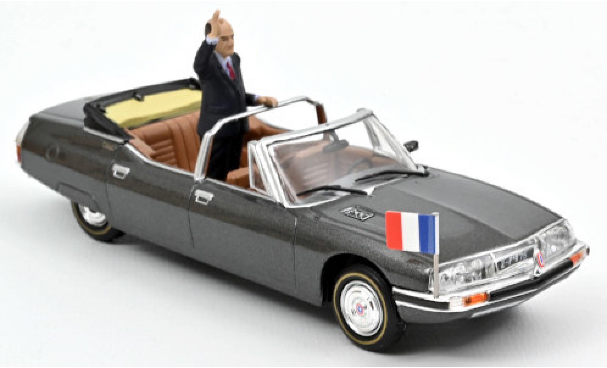 Citroen SM 1/43 Norev Presidentielle metallise grise 1981 avec Figur: Francois Mitterand