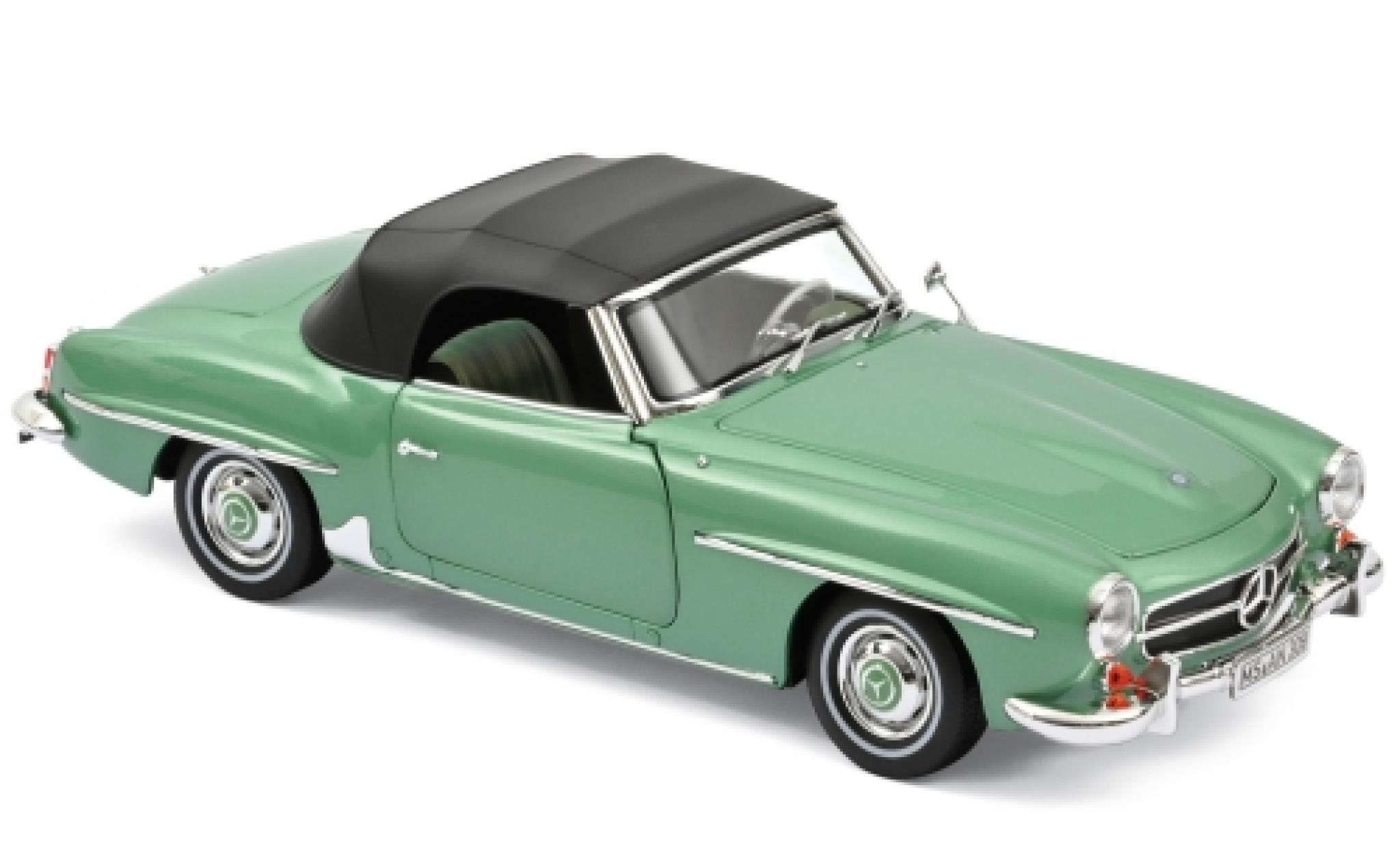 Mercedes 190 1/18 Norev SL (W121 BII) metallise verte 1957 SoftTop couché ein