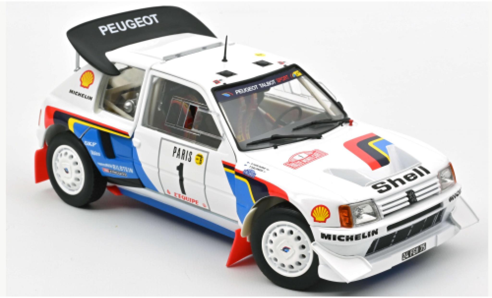 Peugeot 205 1/18 Norev T16 No.1 S Rally Monte Carlo 1986 T.Salonen/S.Harjanne