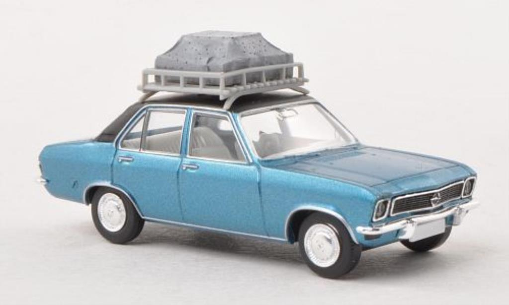Opel Ascona A 1/87 Brekina bleu/matt-noire mit Dachgepack miniature