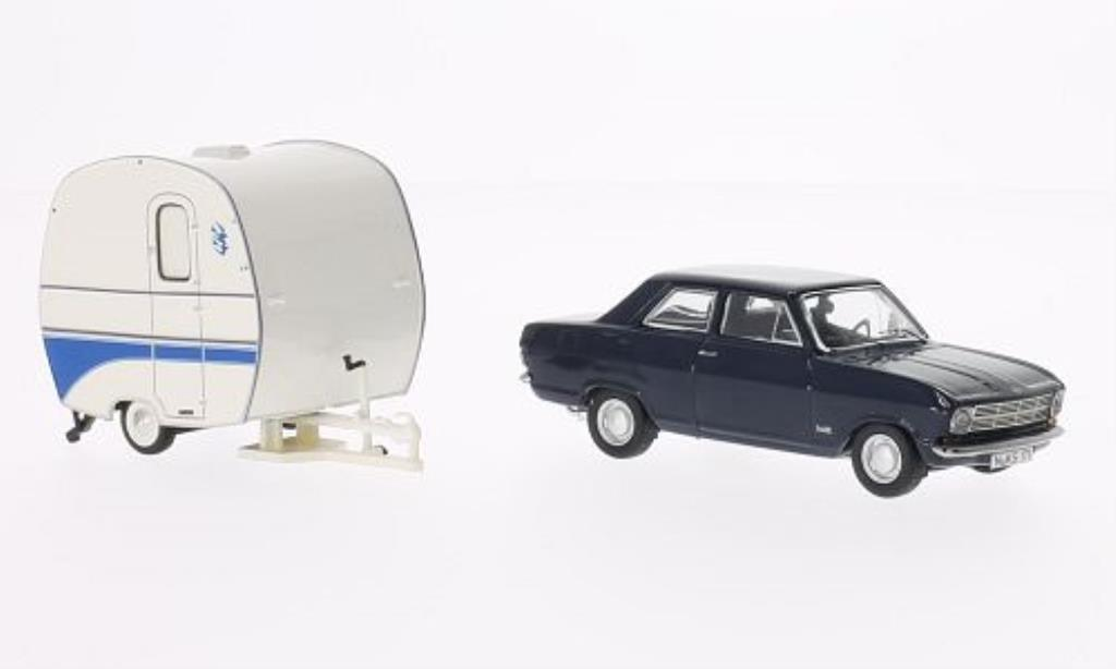 opel kadett b blue 2 turer mit knaus schwalbennest wohnanhanger schuco diecast model car 1 43. Black Bedroom Furniture Sets. Home Design Ideas