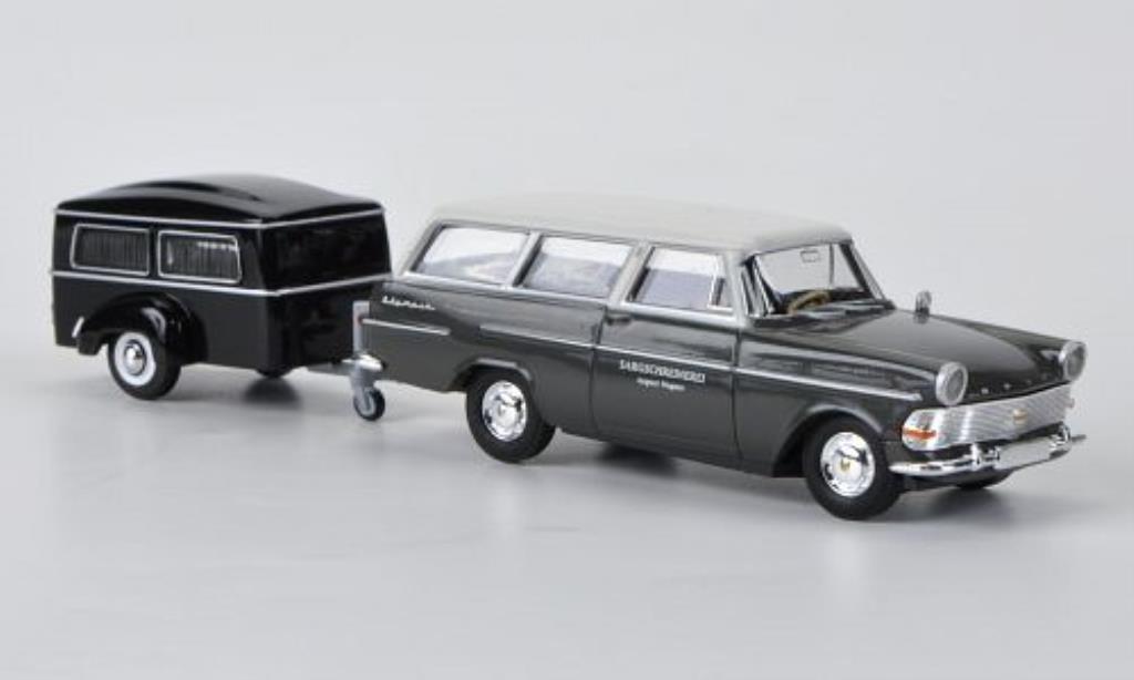 Opel Rekord 1/87 Brekina PII Caravan mit Westfalia-Bestattungsanhanger miniature