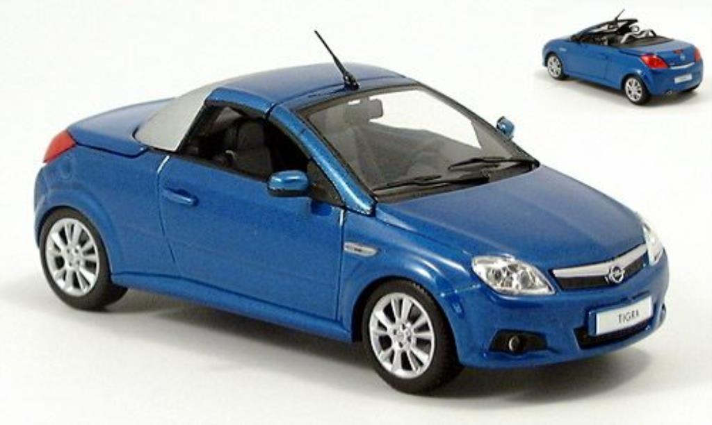 Opel Tigra 1/43 Minichamps Twin Top bleu/grise 2004 miniature