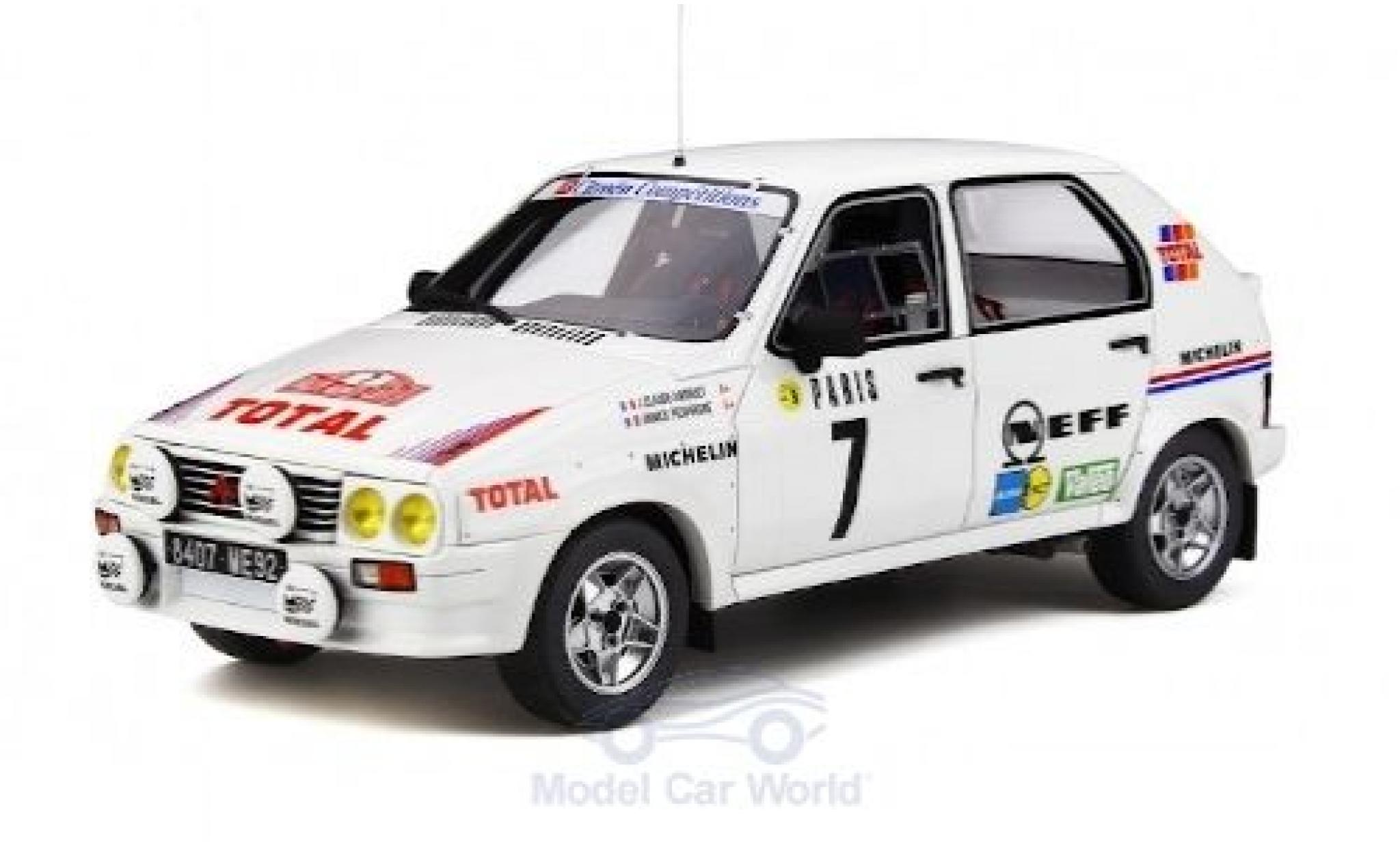 Citroen Visa 1/18 Ottomobile 1000 Pistes Gr.B No.7 Rallye WM Rallye Monte Carlo 1985 J-C.Andruet/A.Peuvergne