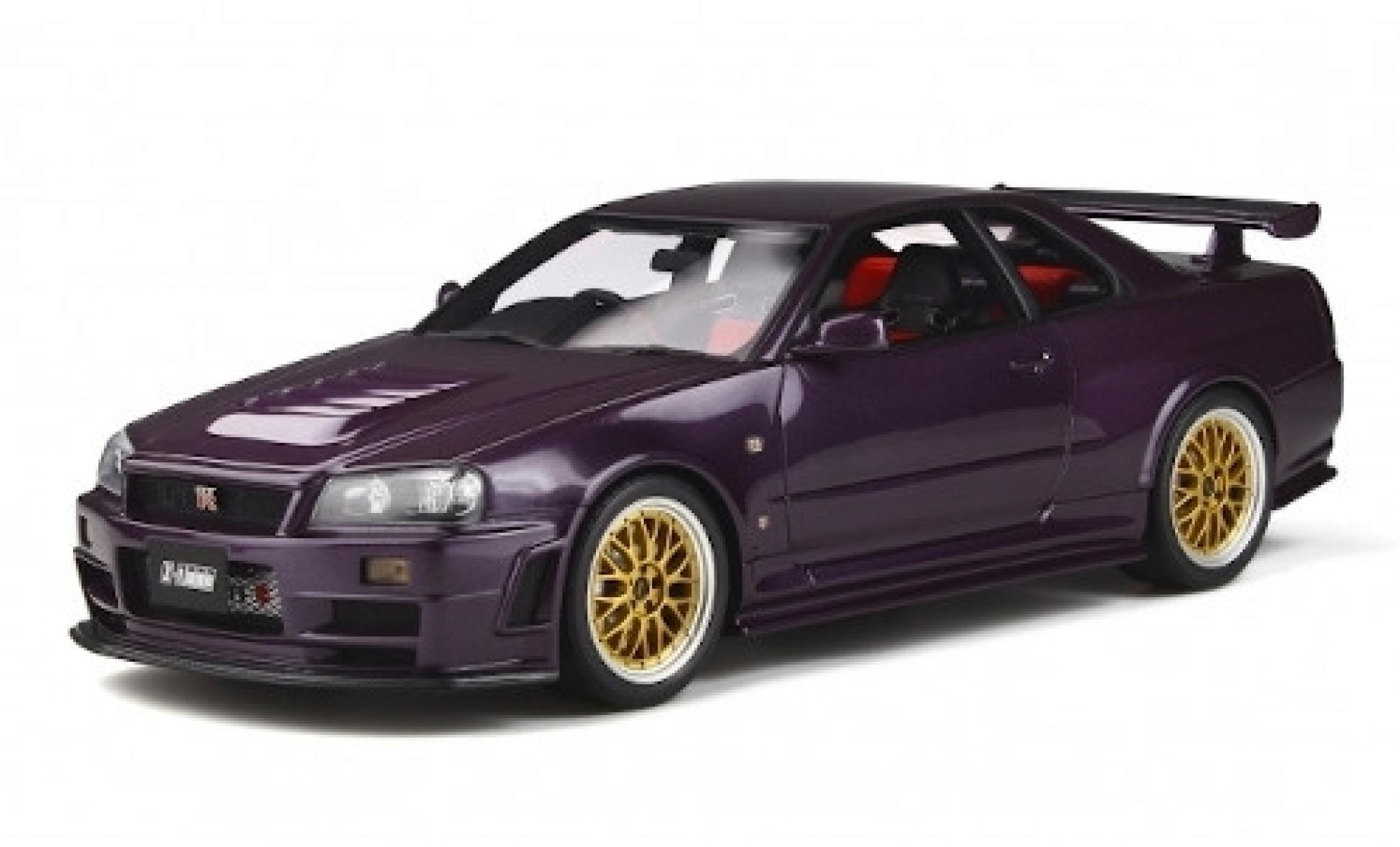 Nissan Skyline 1/18 Ottomobile GT-R (Z34) Nismo Z-Tune metallise violette RHD 1998 avec doré jantes