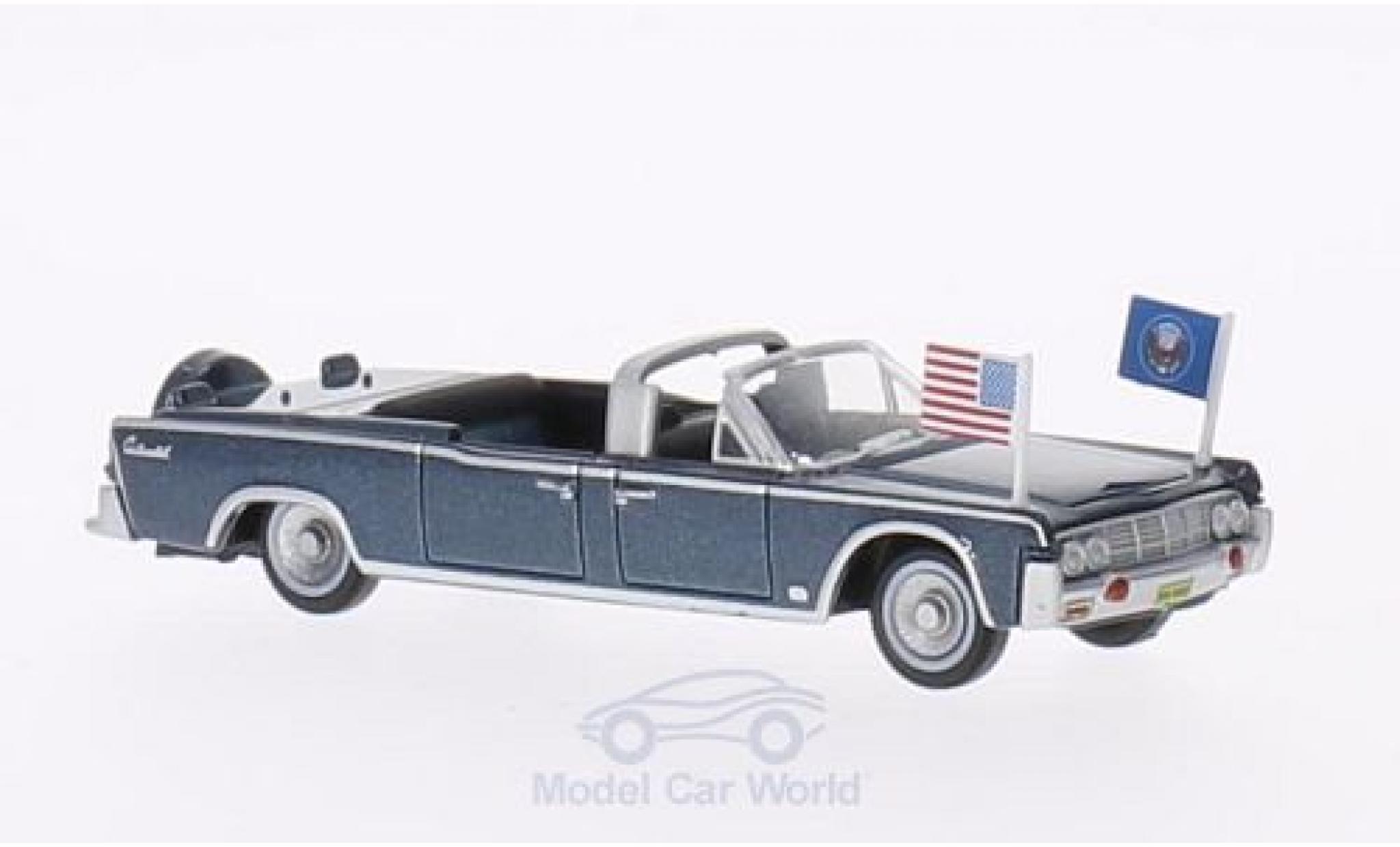 Lincoln Continental 1/87 Oxford X100 metallise bleue 1961 Staatsfahrzeug mit USA-Standarten