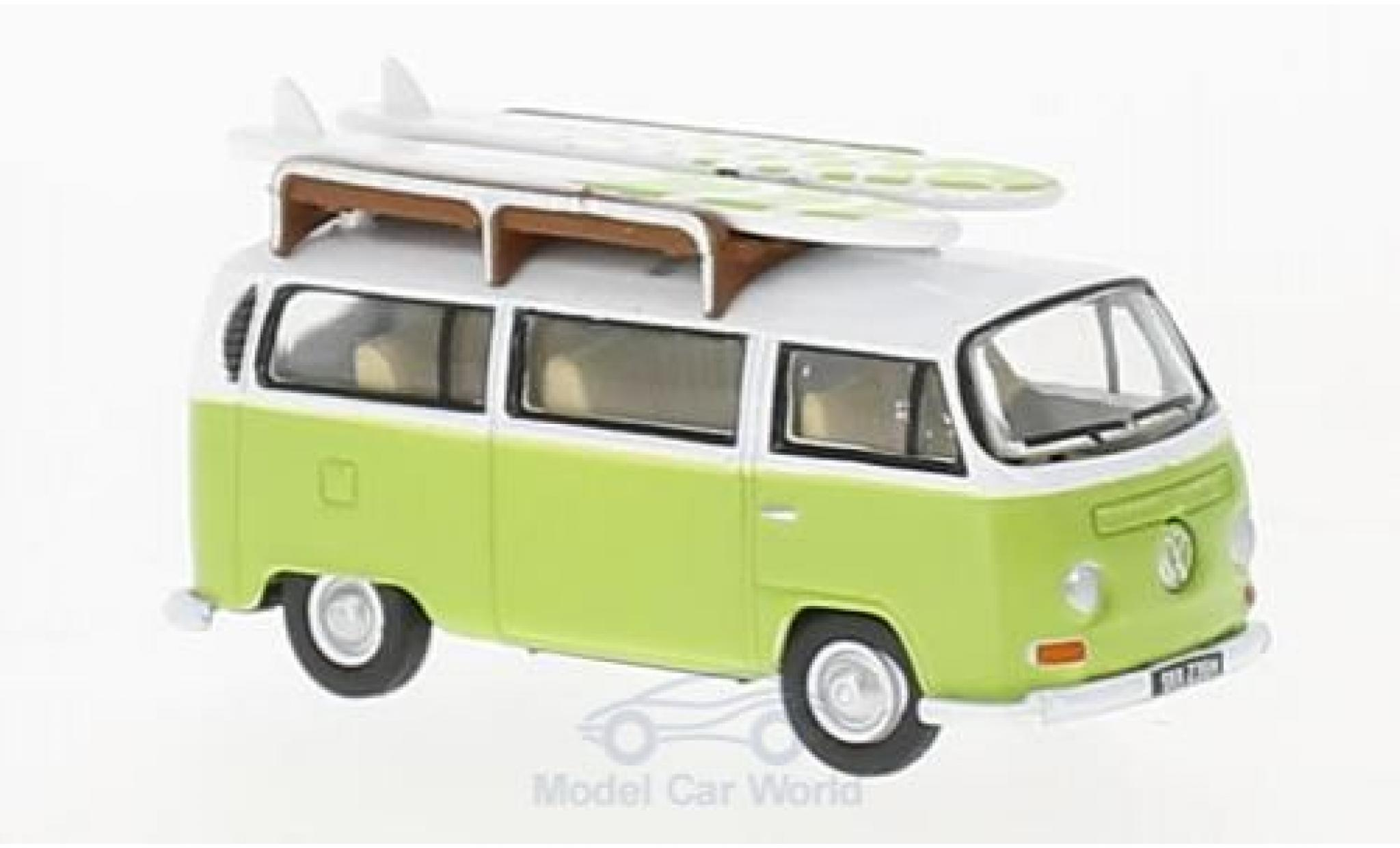 Volkswagen T2 B 1/76 Oxford ay Window Camper green/white mit Surfboards