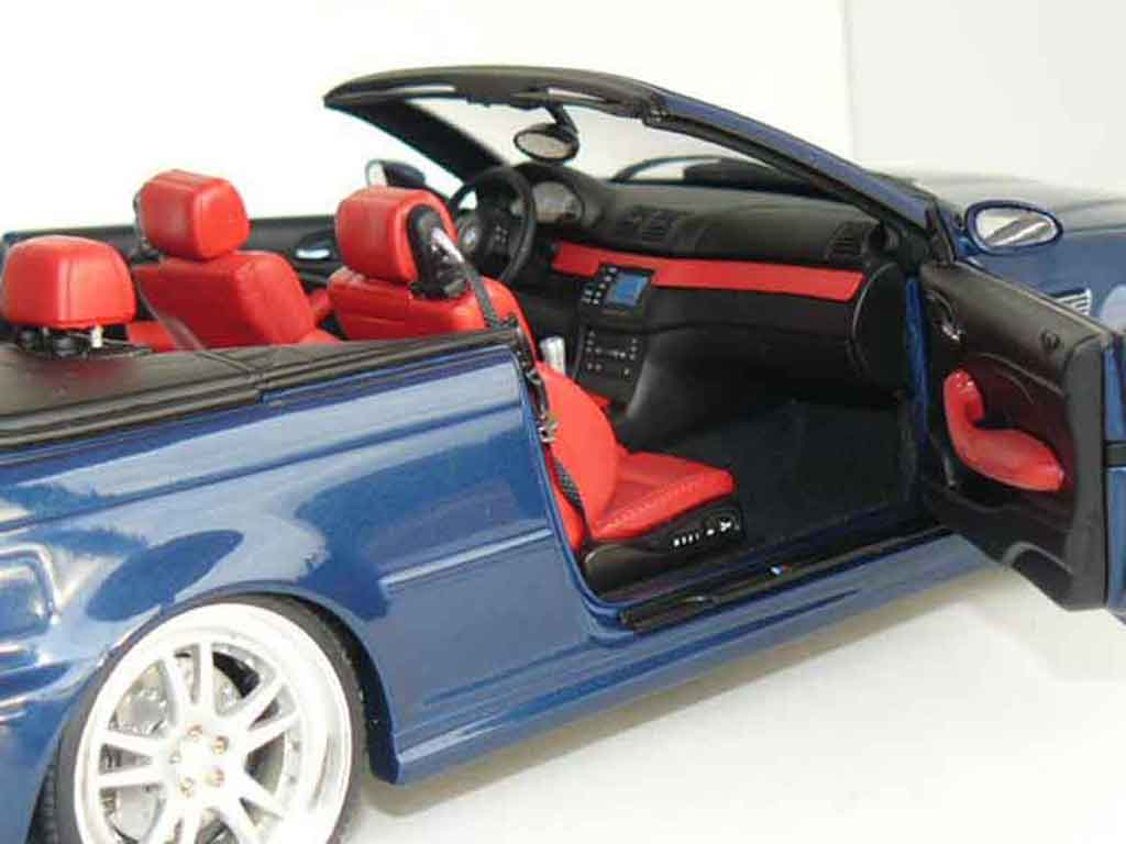 Bmw M3 E46 cabriolet 1/18 Kyosho blue jantes 19 pouces