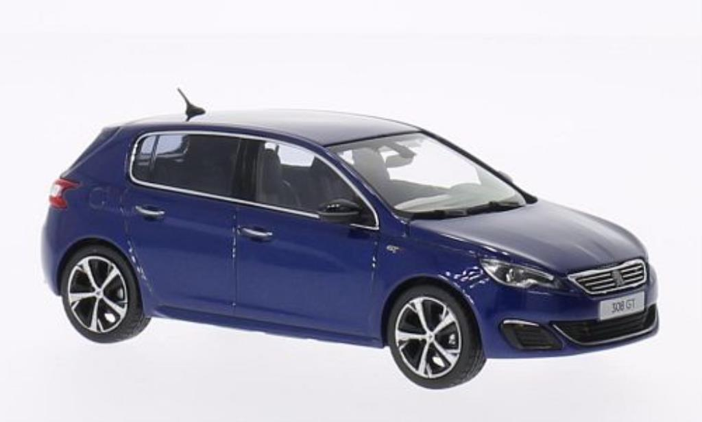 peugeot 308 gt miniature sport bleu 2014 norev 1 43 voiture. Black Bedroom Furniture Sets. Home Design Ideas