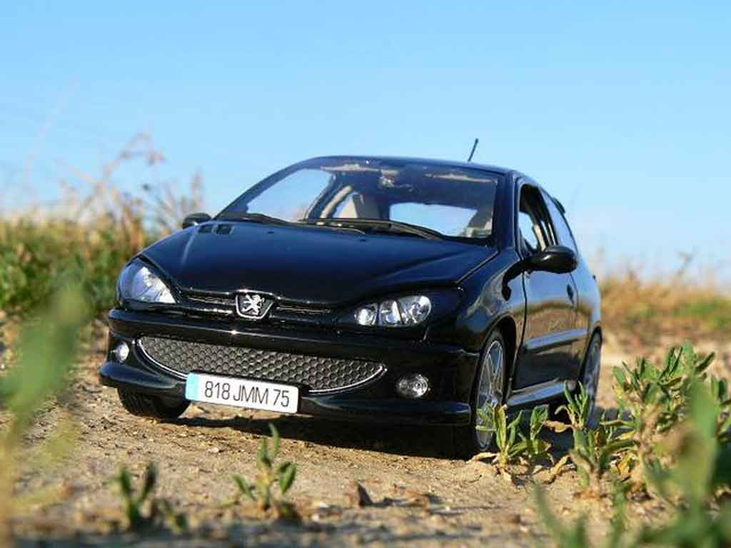 Miniature Peugeot 206 RC noire preparation esquiss auto tuning tuning Norev. Peugeot 206 RC noire preparation esquiss auto tuning miniature 1/18