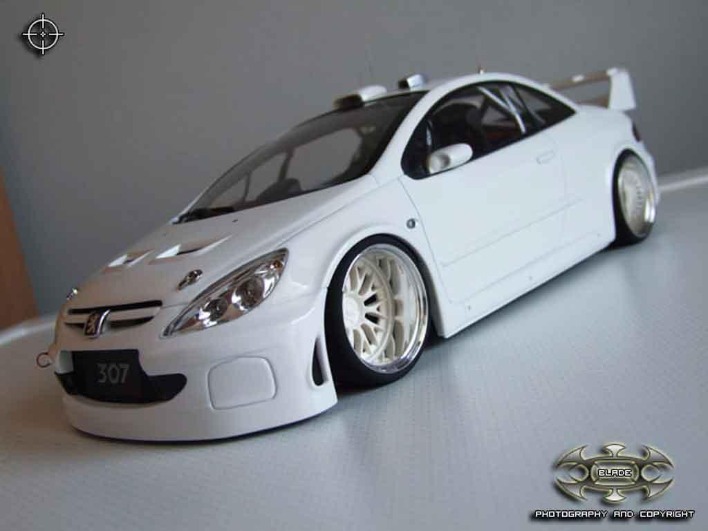 Peugeot 307 WRC 1/18 Autoart plain body bianca jantes bbs