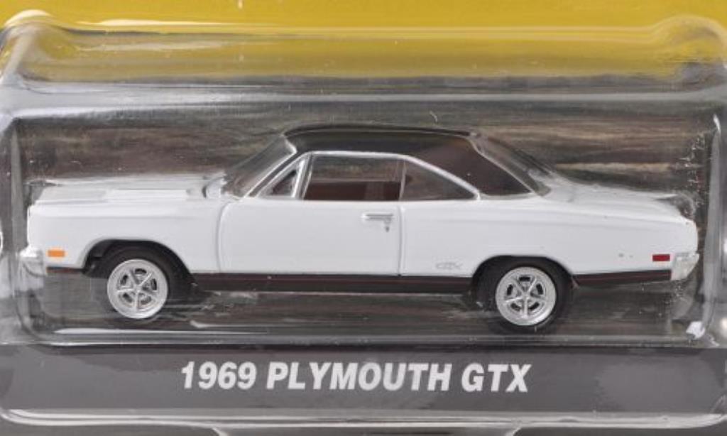 plymouth gtx miniature blanche matt noire 1969 greenlight 1 64 voiture. Black Bedroom Furniture Sets. Home Design Ideas