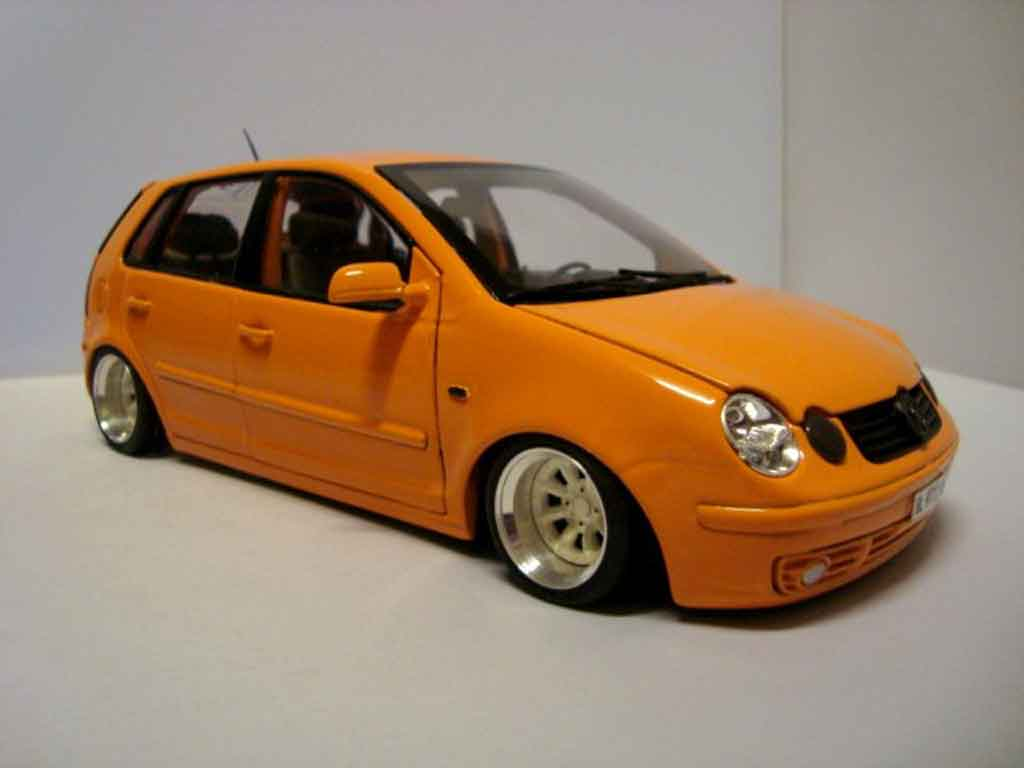 Volkswagen Polo 1/18 Anson 9n orange jantes 13 pouces tuning miniature