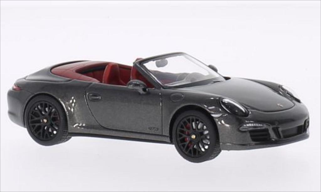 Porsche 991 GTS 1/43 Schuco Carrera Cabrio metallise grise/rouge 2014 miniature