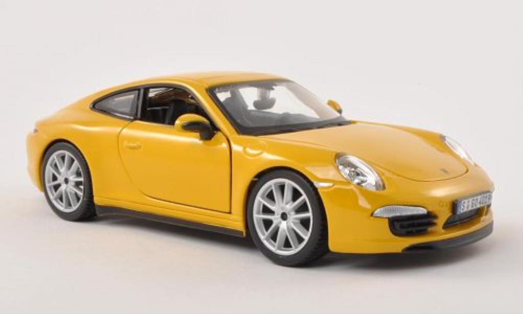 Porsche 991 S 1/24 Burago Carrera yellow diecast model cars