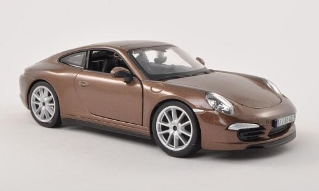 Porsche 991 S 1/24 Burago Carrera brown diecast model cars